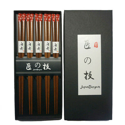Japanese 5 Pair Sakura Red Cherry Blossom Wooden Chopstick Gift Set - Red Cherry Blossom