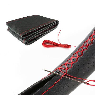 Coprivolante da Cucire in Pelle Nera Filo Rosso Per Auto Volante 38 - 40cm M43