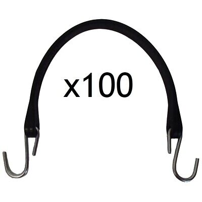 """(100) 15"""" Natural Rubber Tarp Straps HD w/ Hooks Bungee Cord Fasteners"""