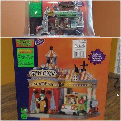 VIDEO Lemax Spooky Town Creepy Clown Academy Bus Roach Coach Food Van Halloween](Creepy Halloween Foods)