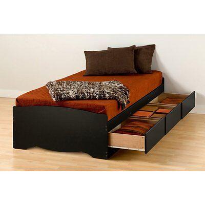 Prepac Mates XL Twin Platform Storage Bed with 3 Drawers -, Black, Twin