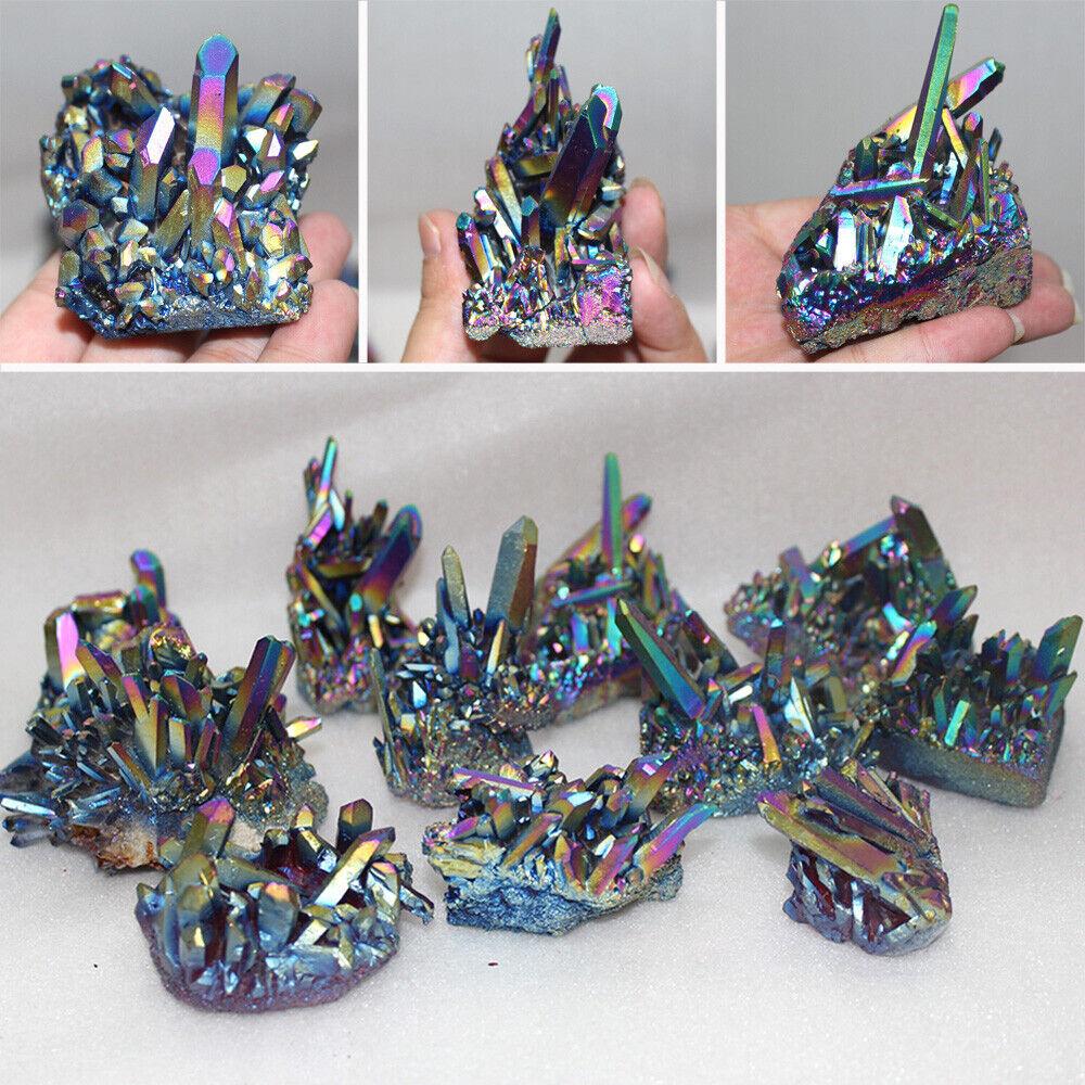 Natural Rainbow Quartz Crystal Titanium Cluster Mineral Blue Peacock Tail Stone