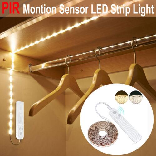 Battery Powered LED Strip Light Wireless PIR Motion Sensor Wardrobe Lamp 123M