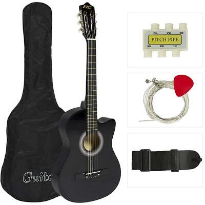 Best Choice Products 38in Beginner Acoustic Cutaway Guitar Set w/Extra Black