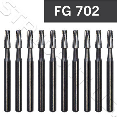 Dental Carbide Burs Fg 702 Taper Flat End X-cut Fissure 10pack