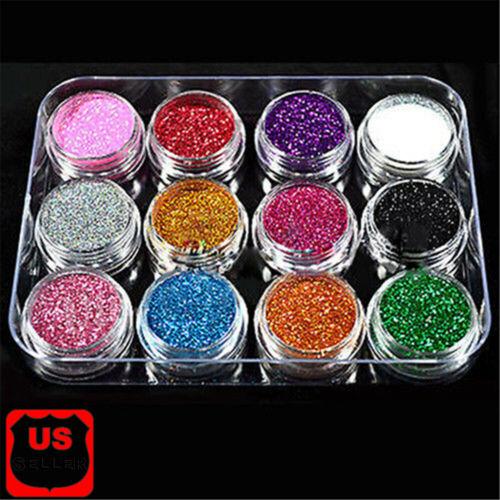 12 Pcs Mix Color Glitter Dust Powder Set For Nail Art Acryli