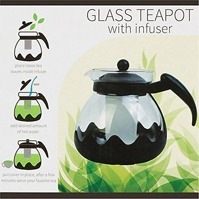 Large Glass Teapot with Infuser - 42 Ounce 1.35 Lt - 5 Cup Glass Kettle Teapot