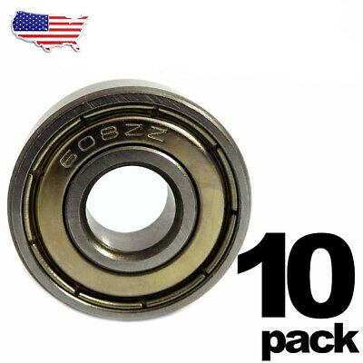 608-ZZ Ball Bearing 8x22x7 Dual Shielded Metal Chrome Skateboard 608Z (10 QTY)