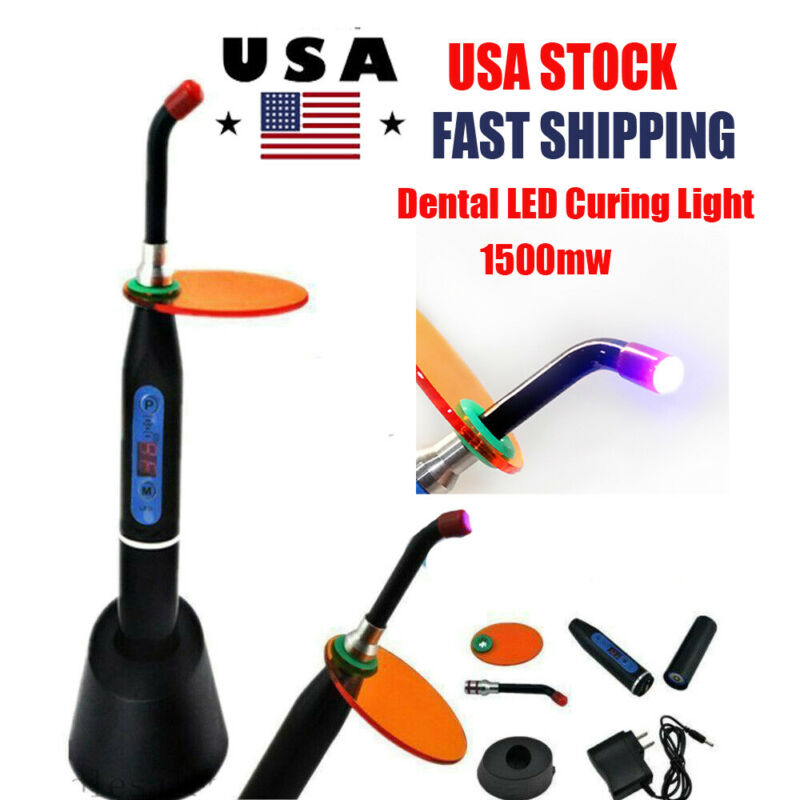 Dentist Dental Wireless Cordless LED Curing Light Lamp 1500mw/ cm² Resin Cure 5W