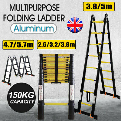 2.6M TO 5.7M Heavy Duty Multi-Purpose Aluminium Folding Telescopic Ladder Steps