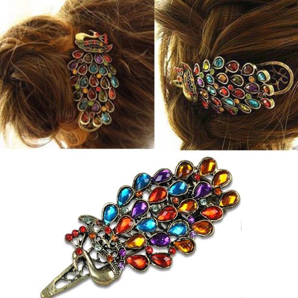Gorgeous Jeweled Peacock Hair Clip Crystal Barrette Boho Boh