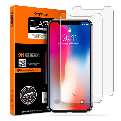 iPhone X 10 Tempered Glass Screen Protector Spigen® [Glas.tR SLIM] - 2PK  for sale  Shipping to India