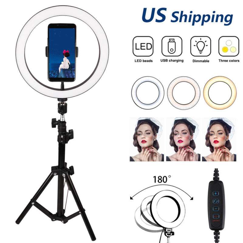 """10"""" Selfie LED Ring Light With Tripod Stand Phone Holder For Live Stream/Makeup"""