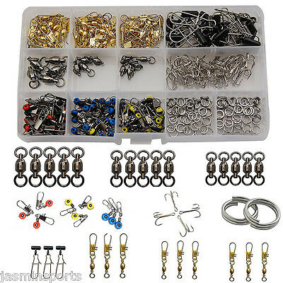 275Pcs Fishing Accessories Kit Hooks Swivels Split Rings Sinker Slide Tackle Box