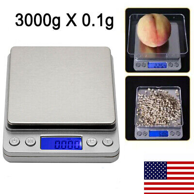 3000g x 0.1g Digital Scale Jewelry Coin Weight Gram Pocket Herb Grain Silver US