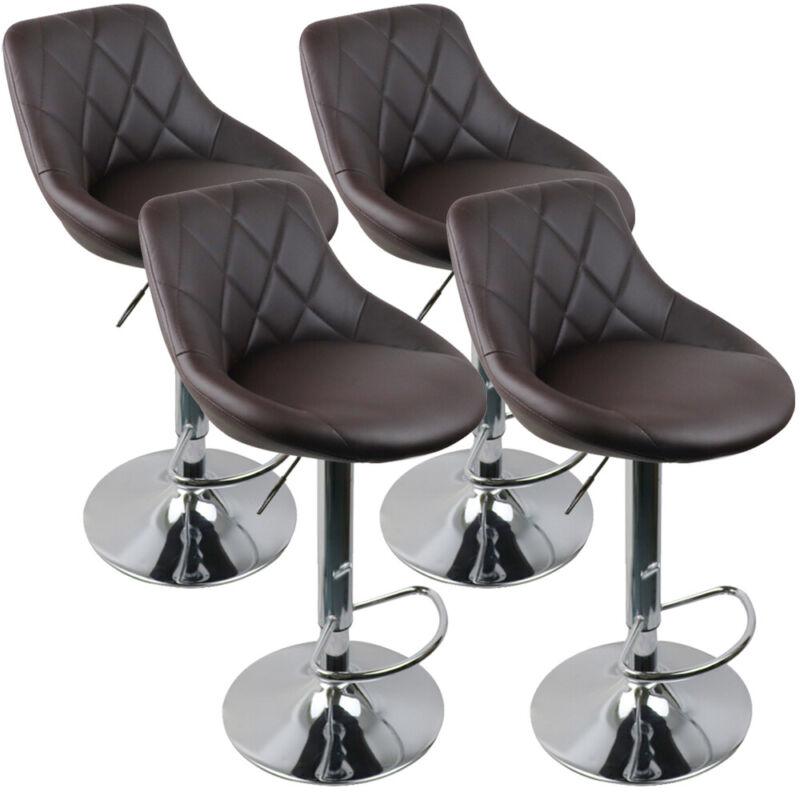 Set of 4 Counter Height Bar Stools Adjustable Bar Stools Swivel Stool PU Leather