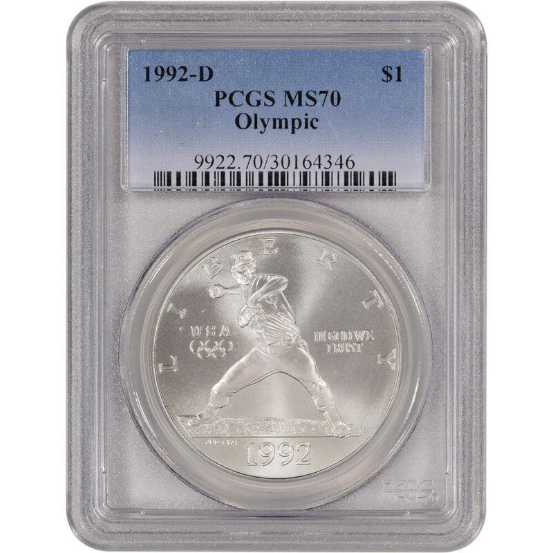 1992-D US Olympic Commemorative BU Silver Dollar - PCGS MS70