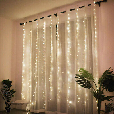 Bar Mitzvah Decor (300LED/10ft Curtain Fairy Hanging String Lights Wedding Valentine's Day)