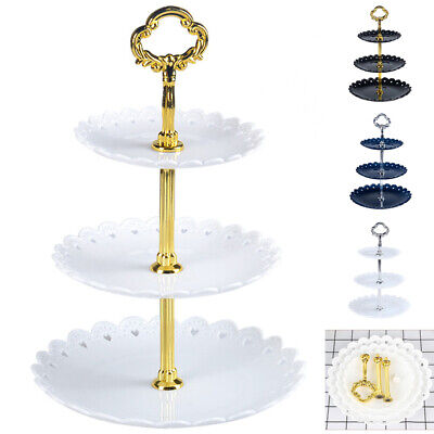 US 3-Tier Cake Plate Stand Tray Wedding Birthday Party Cupcake Display Tower Set