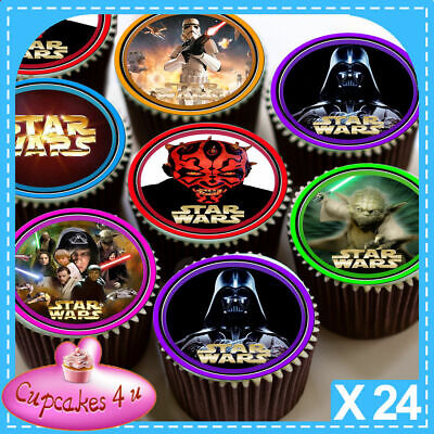 24 x STAR WARS CHARACTERS CUPCAKE TOPPERS PRINTED ON EDIBLE ICING SHEET C7104