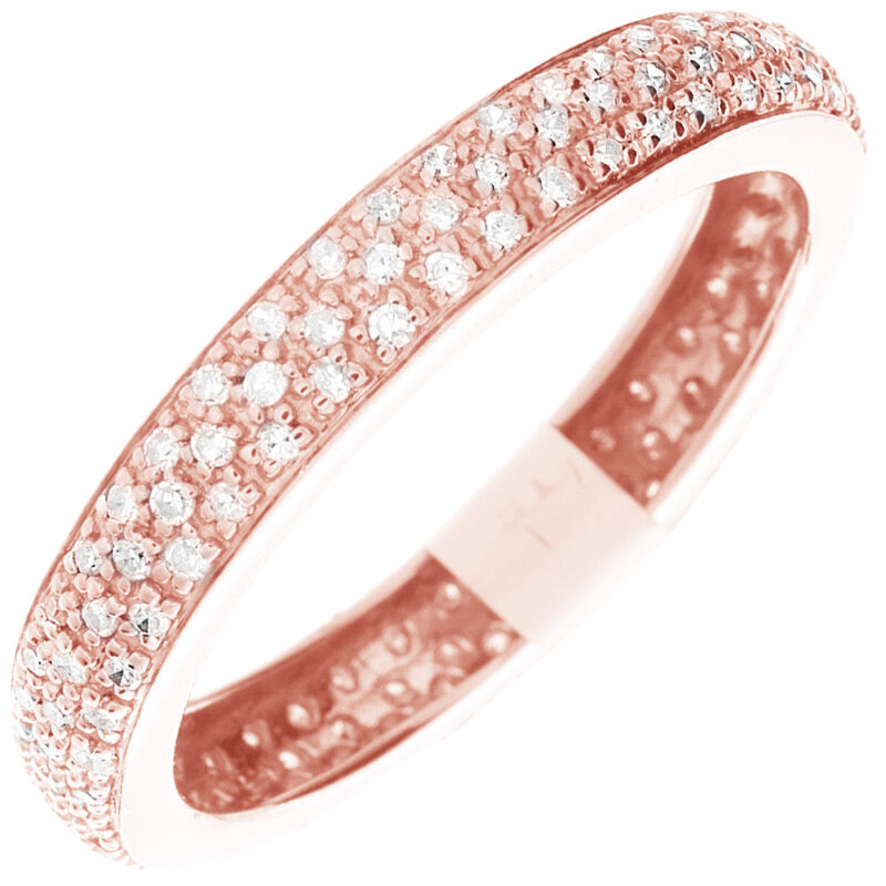 14k Rose Gold Round Shape Dia Certified 2.25 Carat Eternity Diamond Ring