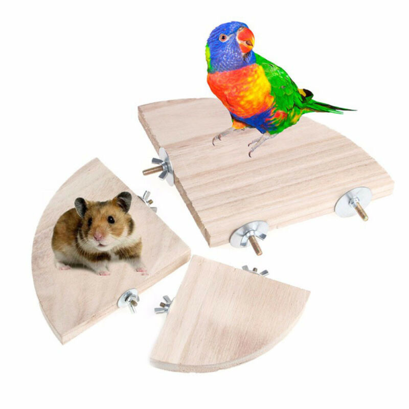 Pet Parrot Wooden Platform Stand Rack Hang Toy Hamster Perches For Bird Cage N3