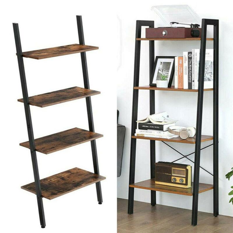 4 Tier Layer Bookcase Bookshelf Leaning Wall Shelf Shelving