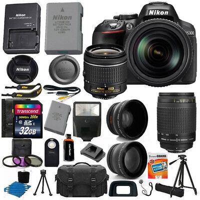 Nikon D5300 Digital SLR Camera +4 Lens 18-55mm VR 70-300 + 32GB Top Score Bundle