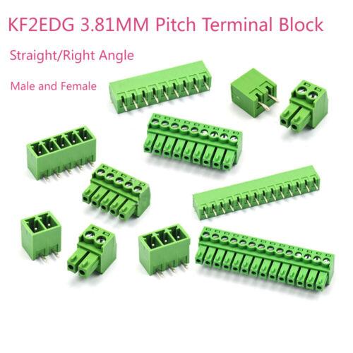 Green 15EDG 3.81mm Connector Kit Plug-in Terminal Block Straight//Bent Pin Plug