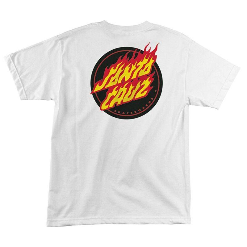 Santa Cruz FLAMING DOT Skateboard T Shirt WHITE LARGE