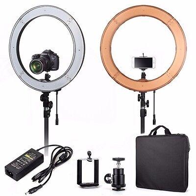 "UK Seller! 18"" Quality LED Dimmable Photo Video Ring Light Kit + Light Stand"