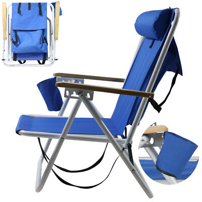 Backpack Fold Beach Chair wIth Adjustable Padded Headrest & Cup Holder -