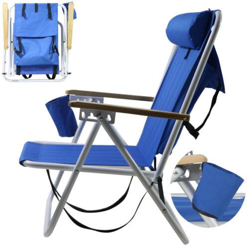 Backpack Fold Beach Chair wIth Adjustable Padded Headrest &