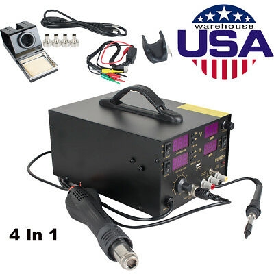 909d4 In1 Soldering Rework Station Solder Iron Smd Hot Air Gun Usa Shipping