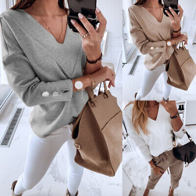 Women V Neck Jumper Tops Ladies Winter Long Sleeve Casual Pullover Sweater Size