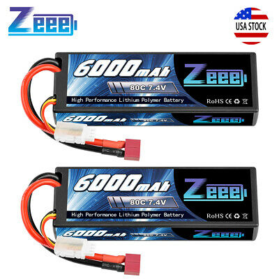 2pcs 6000mAh 80C 7.4V 2S Hardcase Lipo Battery Deans Plug For RC Car Boat Truck