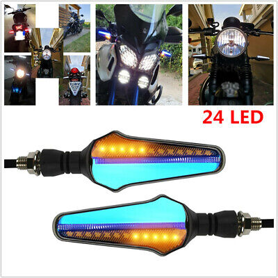 12V 2PCS Motorcycle Bike Turn Signal Flowing Water Tail Light 24 LED Patch Wicks