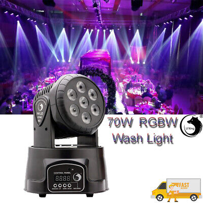U`King Stage Lighting 7 LED RGBW Wash Moving Head DMX 7/14CH Disco Party Light