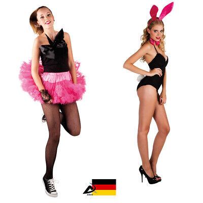 Sexy Bunny Kostüm Minirock Osterhase Ohren Schwanz Fliege Fasching Petticoat