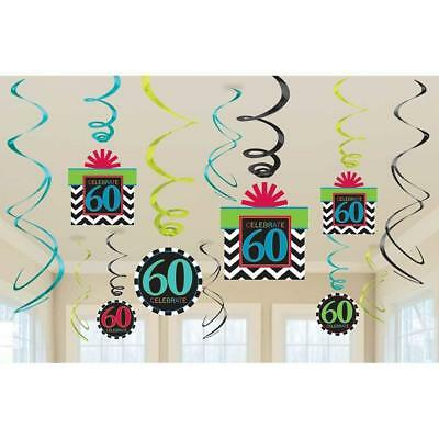 Chevron Birthday Decorations (60th Celebration Chevron Stripes Adult Birthday Party Hanging Swirl)