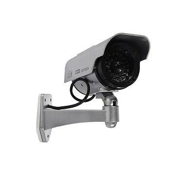 Solar Dummy Fake Flashing Light IR LED Security Camera CCTV Surveillance Silver