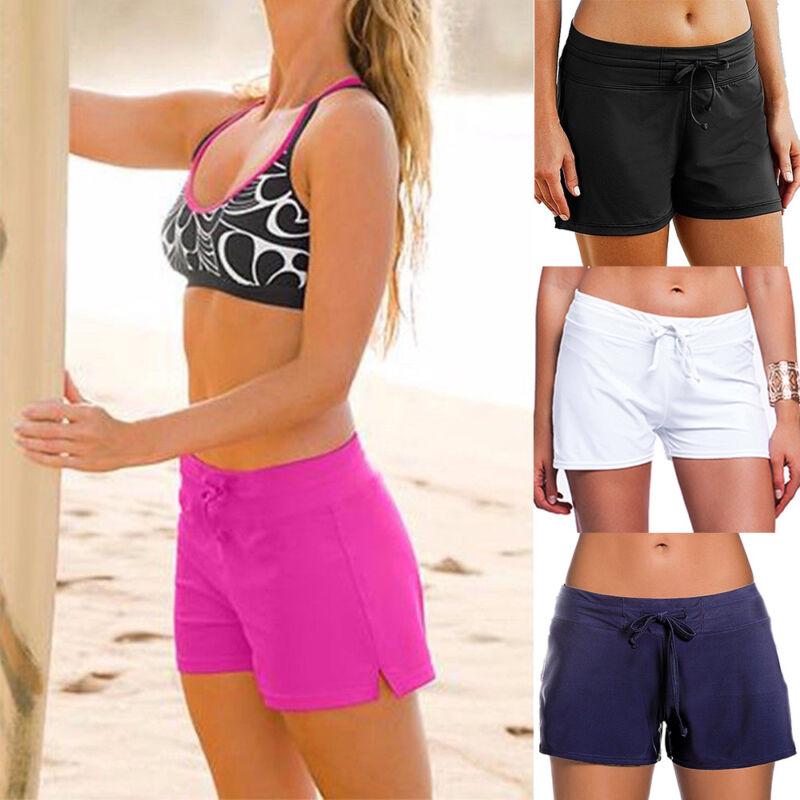 Damen Badehose Boardshorts Bademode Badeshorts Liniert Bikini Hotpants Schwarz