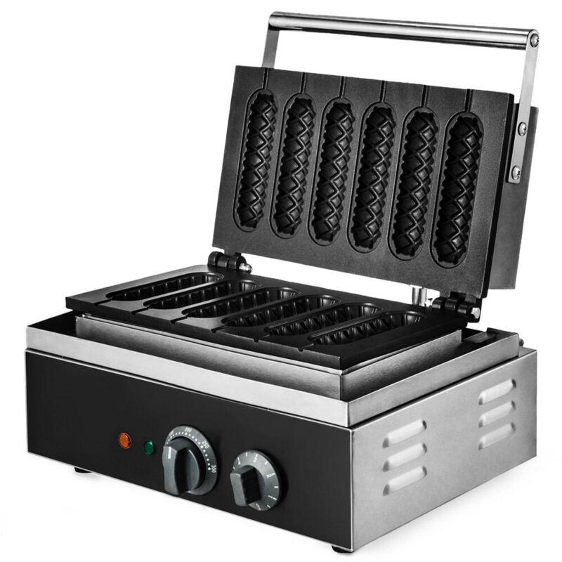 Hot Dog Waffle Maker Commercial | 6PCS | French Hotdog Sausage Maker | 110V