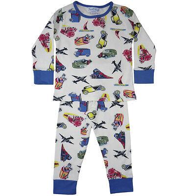 Cotton Knit Pyjama (100% Cotton Knit Pyjamas-Beautifully Soft-Planes & Trains- Powell Craft-Ages 2-7)