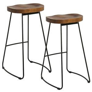 Set Of 2 Bar Stools Kitchen Breakfast High Chair Wood Pub Seat