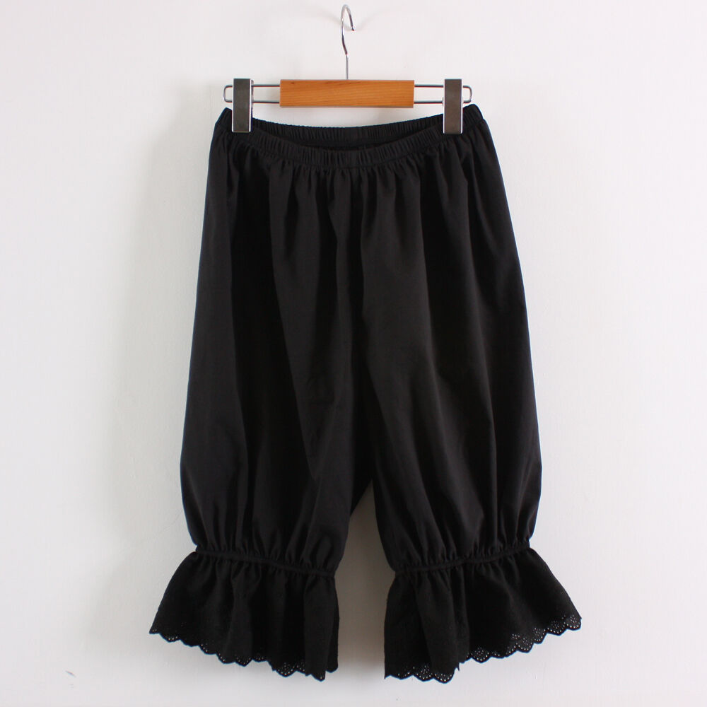 Womens Cotton Black Lace Bloomers Pettipants victorian Ladie