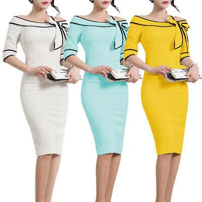 Elegant Women Business Office Work Formal Party Bow Bodycon Sheath Pencil Dress