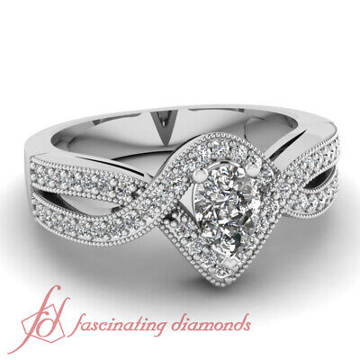 1 carat Pear Shaped Halo Intertwined Antique Style Diamond Engagement Ring - GIA