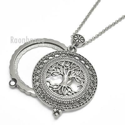 New Silver 5X Magnifying Glass Tree Of Life Pendant 31  Chain Necklace Sj045s