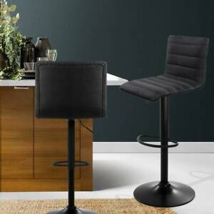 Artiss Set of 2 Fabric Bar Stools - Black - FREE DELIVERY